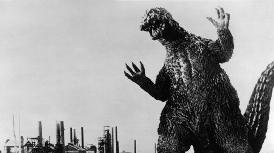 Godzilla in a scene from the film 'Godzilla VS. The Smog Monster', 1971. Toho/Getty Images